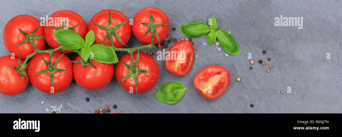 Tomato Tomato Red Vegetable Banner Slate From Above Stock Photo Alamy