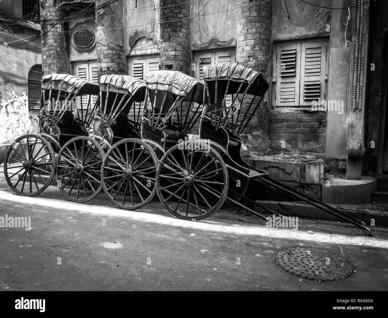 Hand pulled rickshaw on the streets of kolkata calcutta india stock image