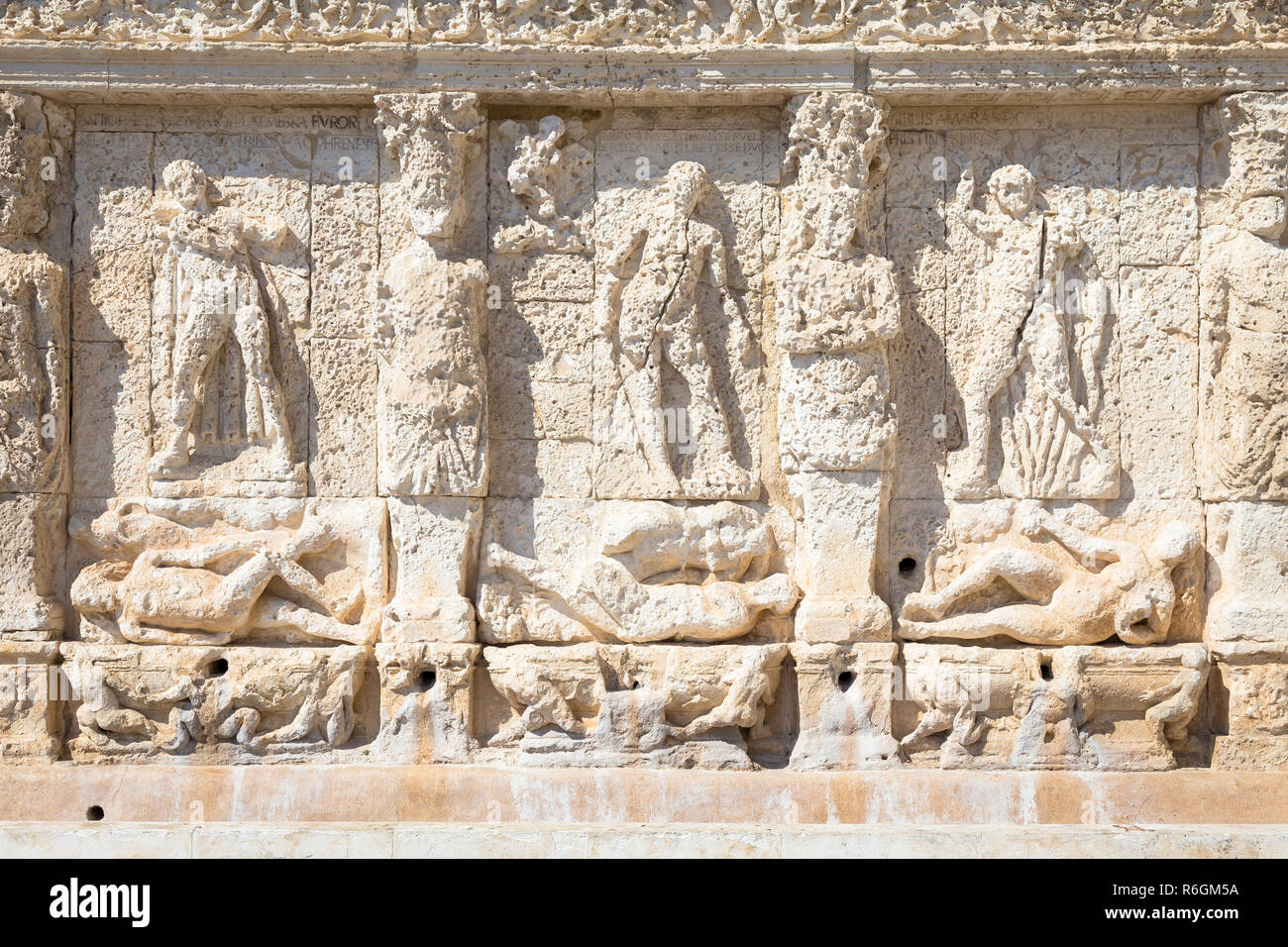 GALLIPOLI, ITALY - Greek fountain, 3rd century BC Stock Photo