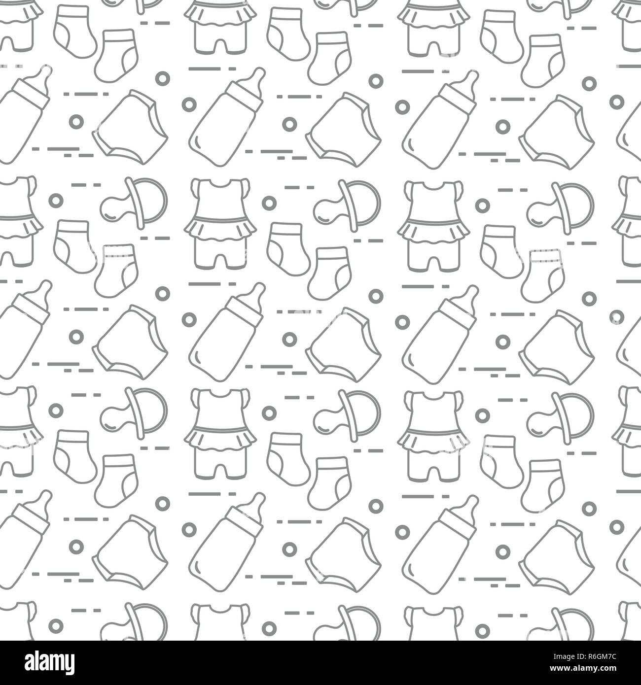 Seamless pattern with goods for babies. Newborn baby background. Baby bottle, nipple, socks, diapers, bodysuit. - Stock Image