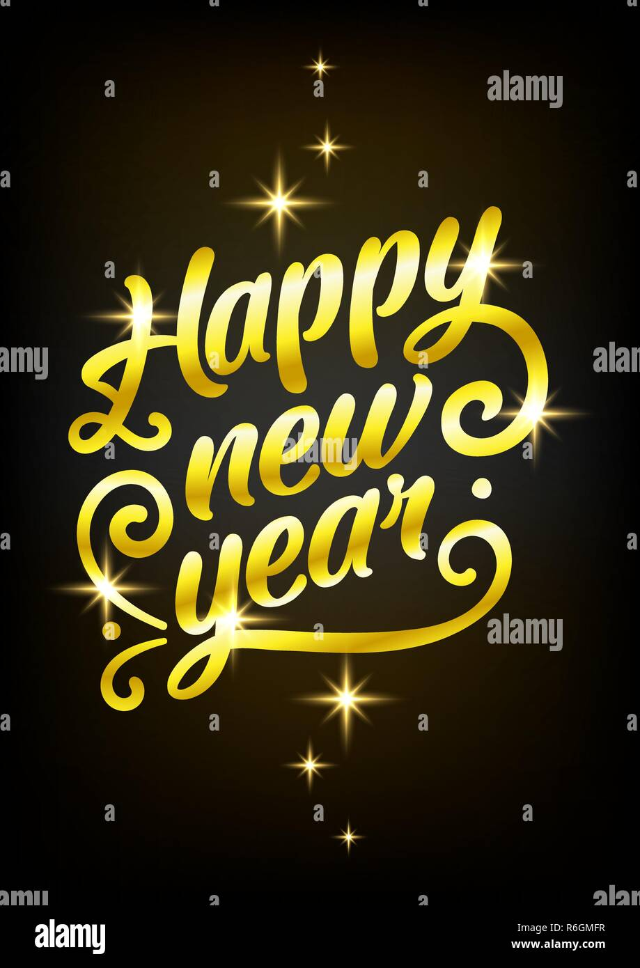 Golden Happy New Year sign 2019 Holiday Vector Illustration. Shiny Gold Lettering Composition With Sparkles - Stock Image