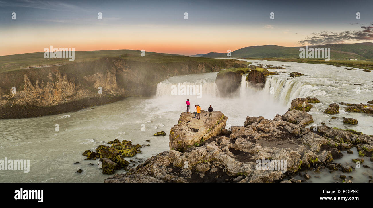Aerial - Godafoss Waterfalls, Iceland. This image was shot using a drone. - Stock Image