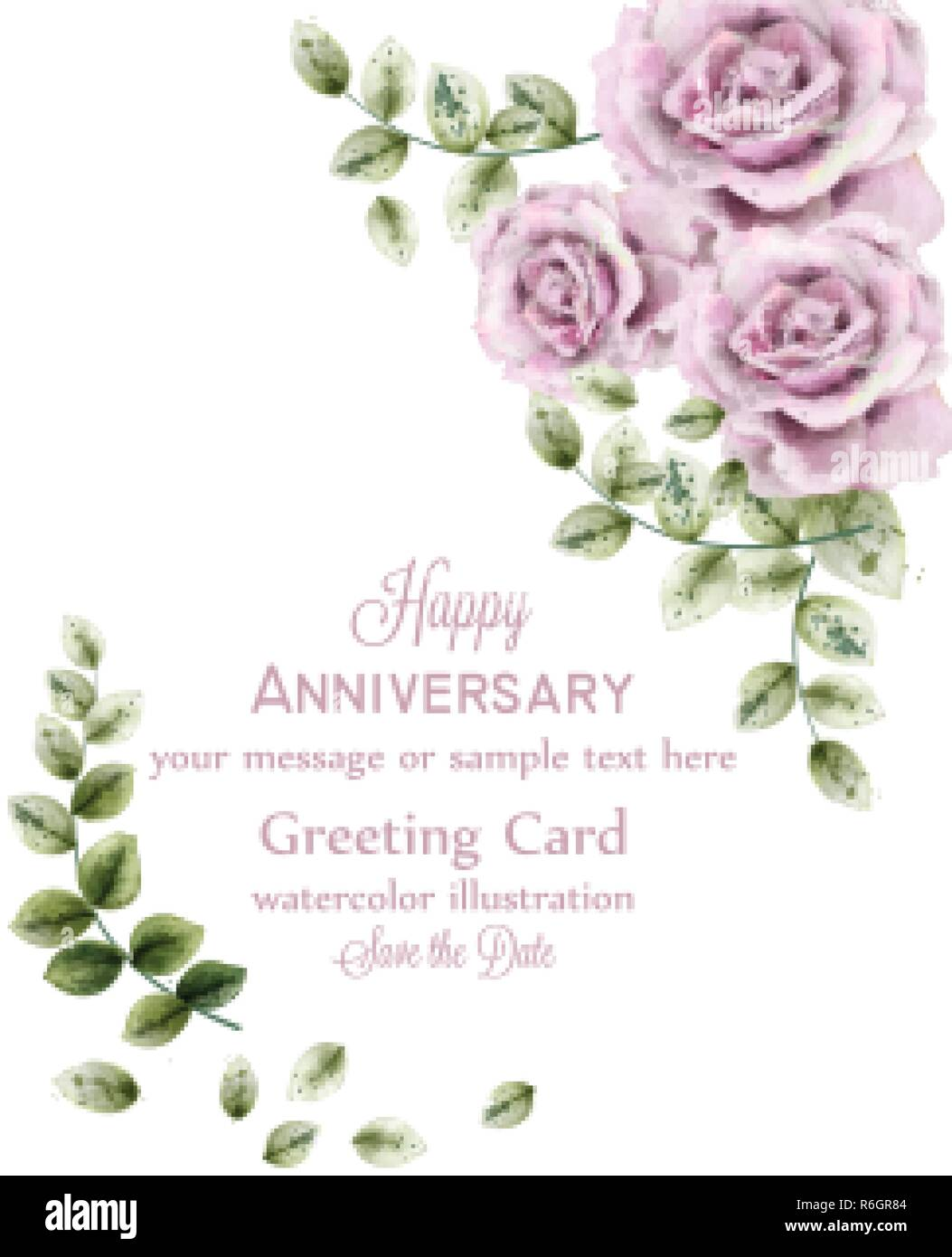 Delicate Pink Roses Anniversary Cardvector Watercolor