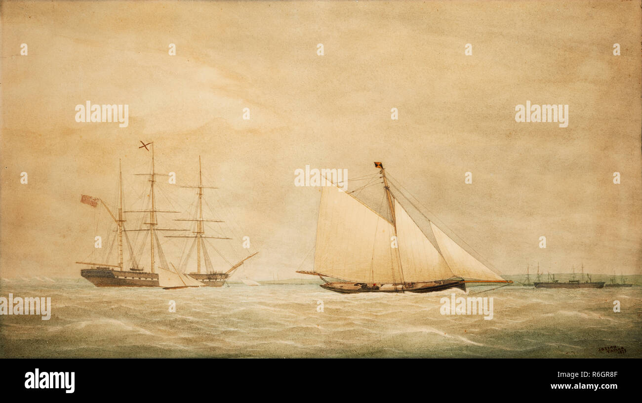 Watercolour painting titled turning around signed by Josiah Taylor 1877 who died in that year - Stock Image