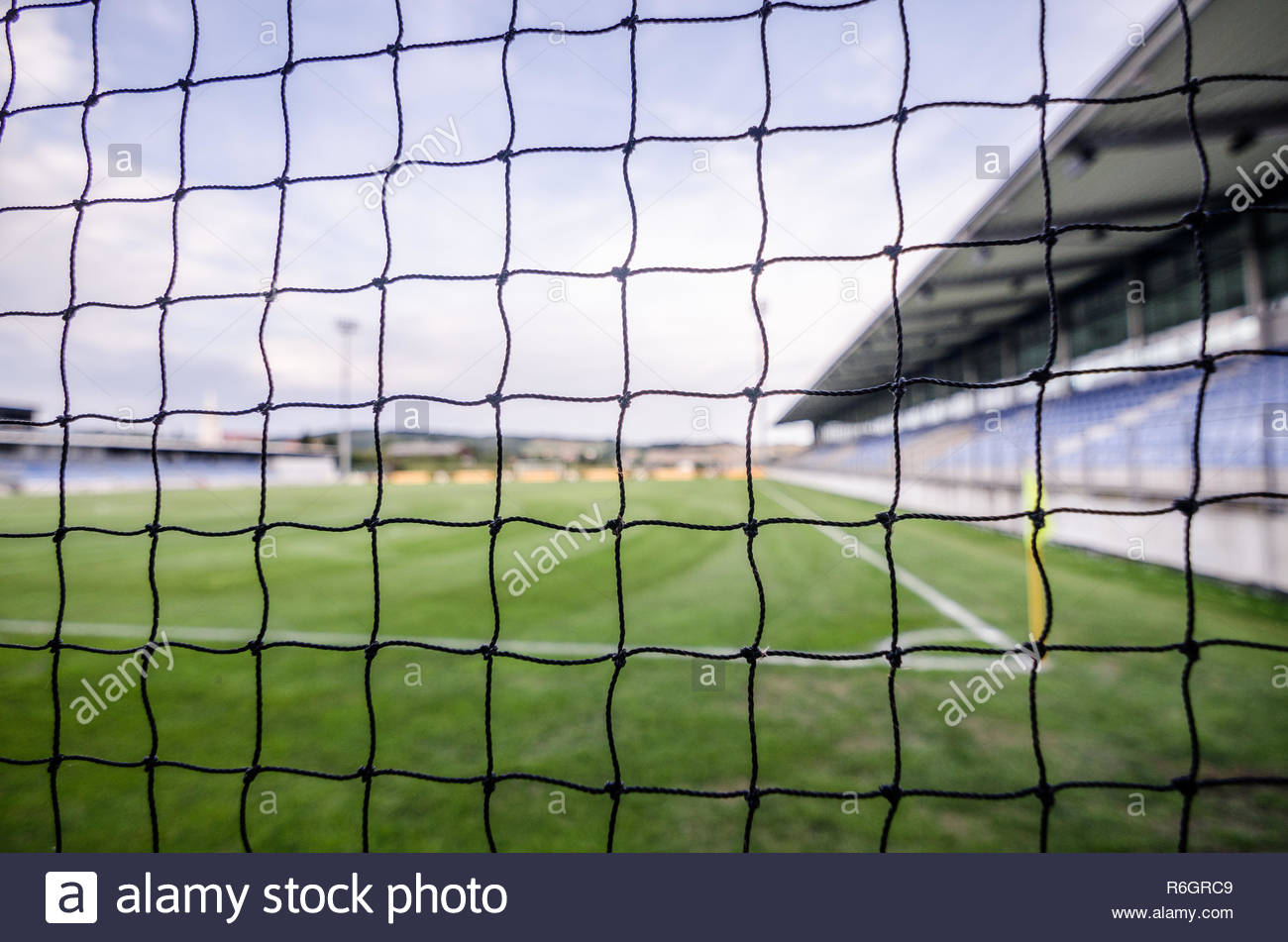 soccer field with net detail - Stock Image