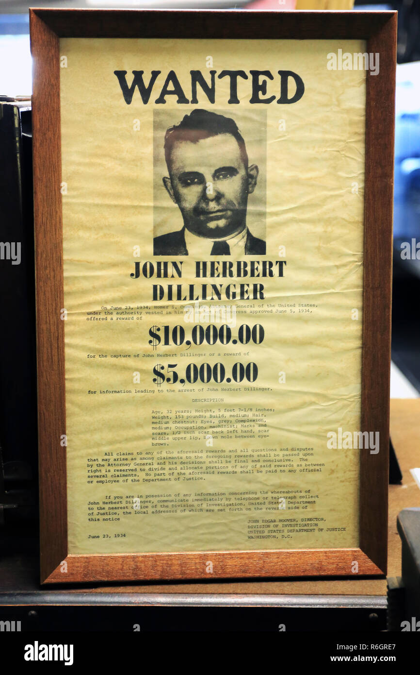 John Dillinger wanted poster police museum Yonkers New York - Stock Image