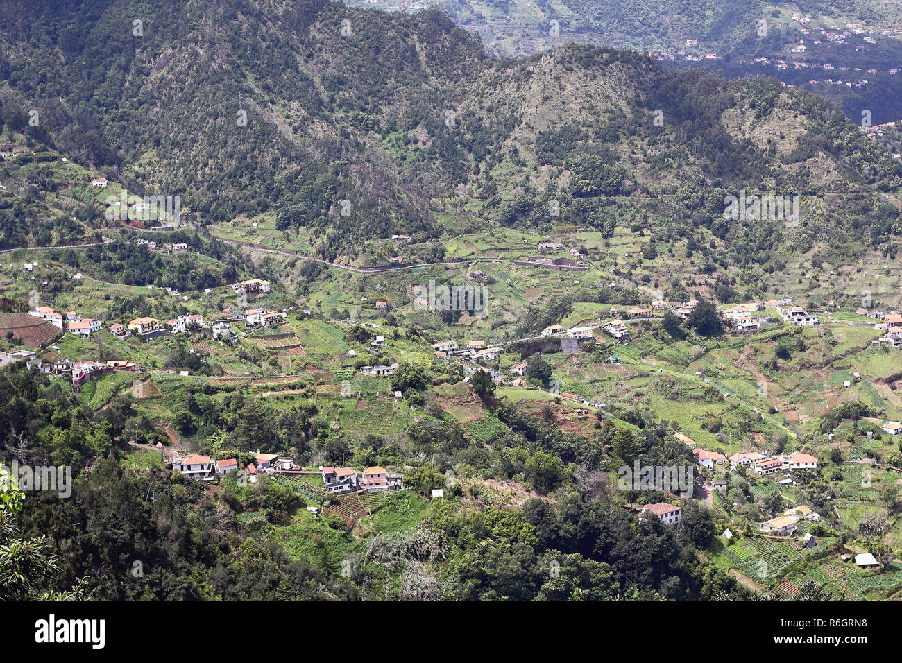 The valley at the foot of the Eagle Rock in the North of Madeira - Stock Image