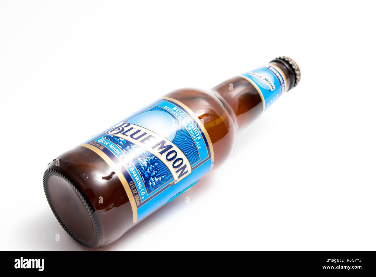 Blue Moon white beer bottle Belgian - Stock Image