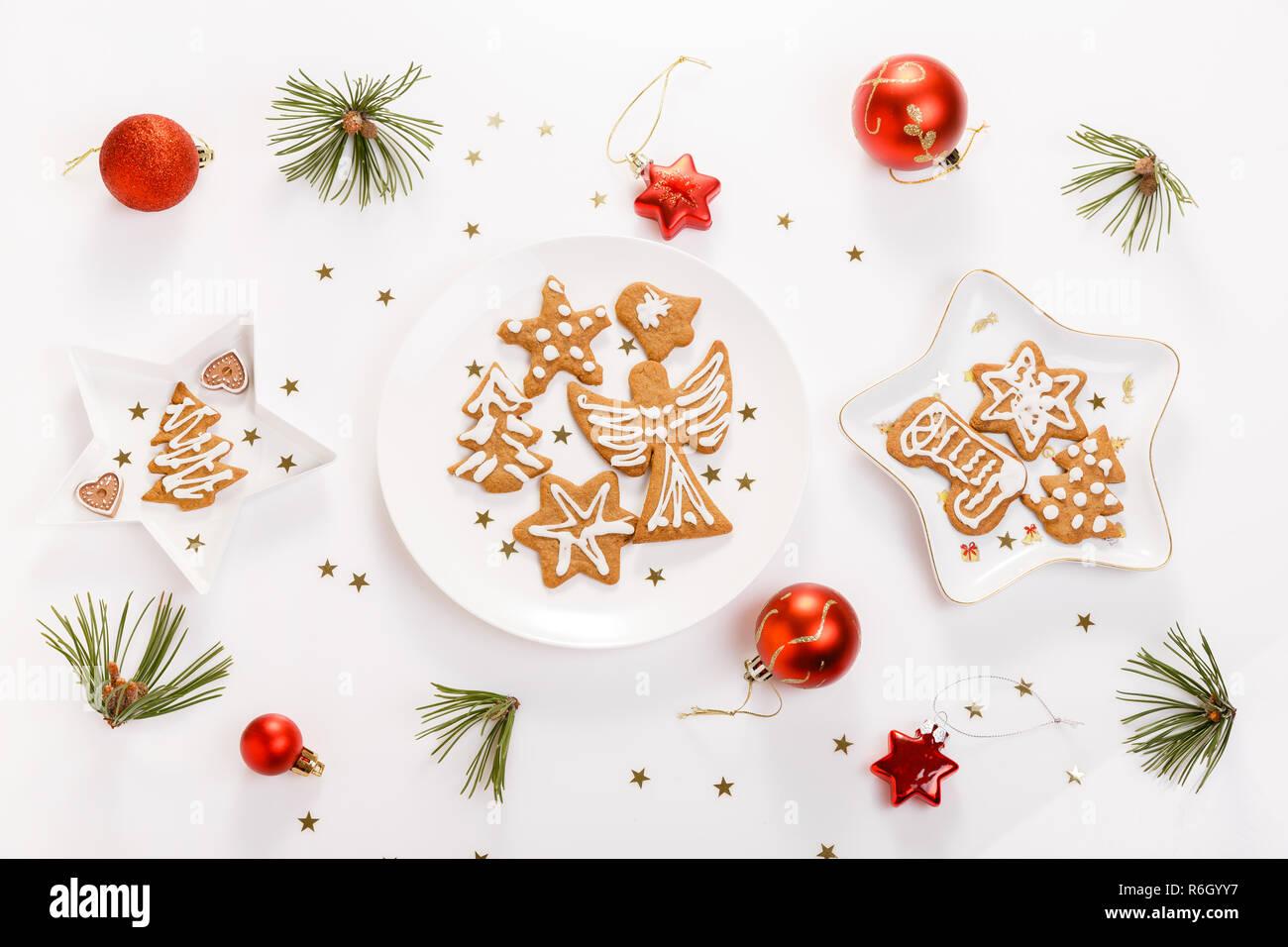 Christmas Banner.Christmas Homemade Gingerbread Cookies And Christmas Tree On