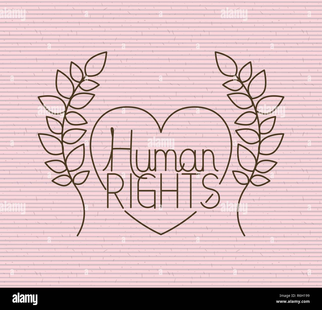 Heart With Wreath Human Rights Drawns Stock Vector Art