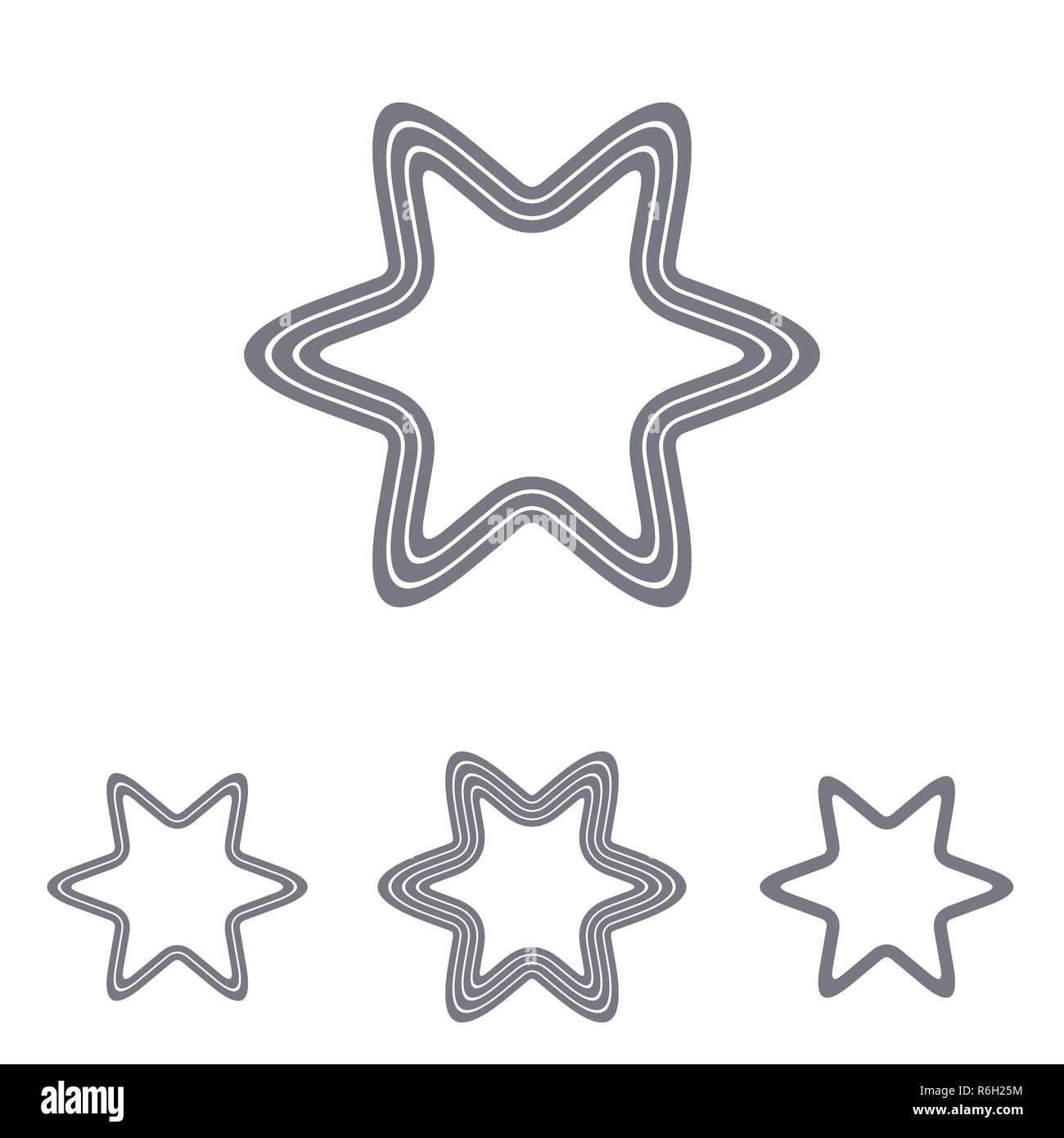Grey line star logo design set - Stock Vector