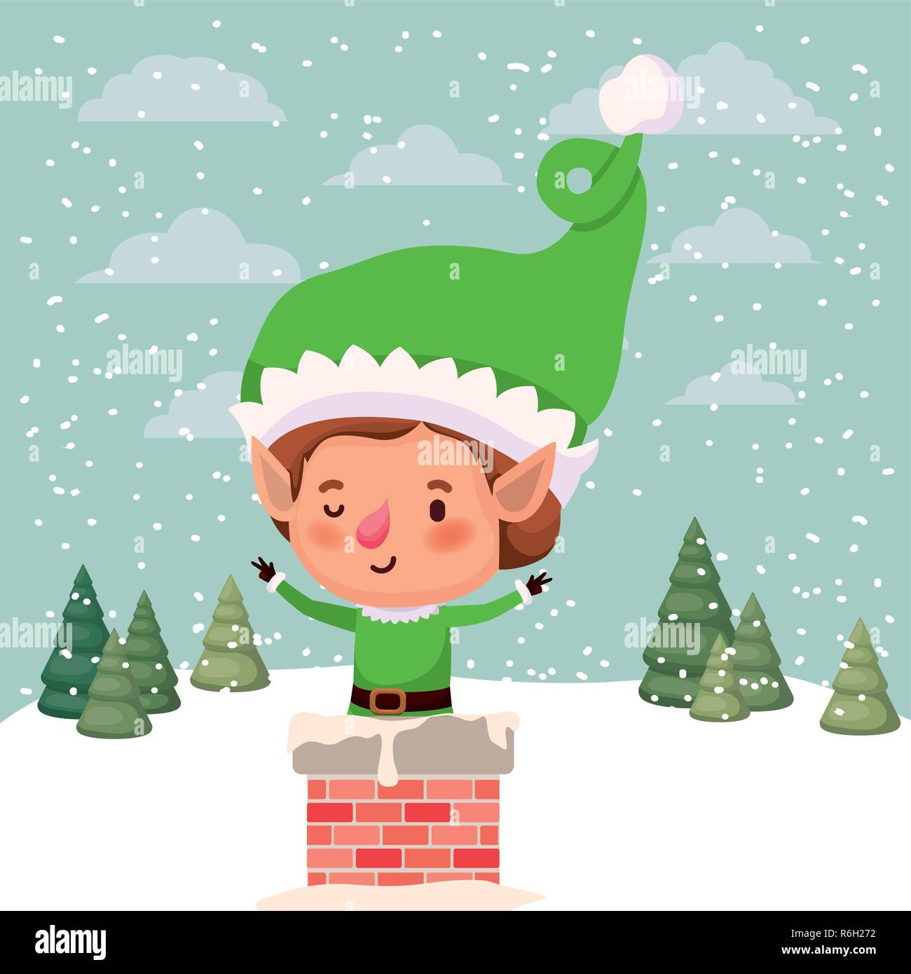 cute santa helper with chimney - Stock Image