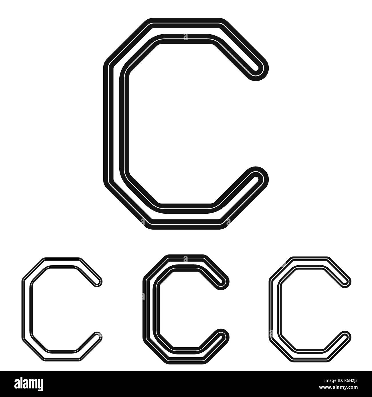 Black Line C Logo Design Set Stock Vector Image Art Alamy