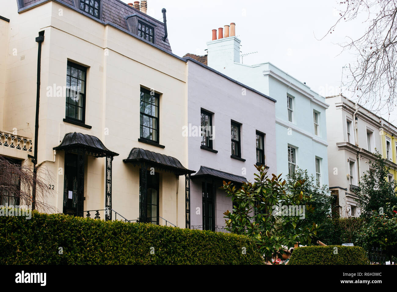 London, UK - March 11, 2018: townhouses on Holland Park Avenue in Royal Borough of Kensington and Chelsea, west central London, UK Stock Photo