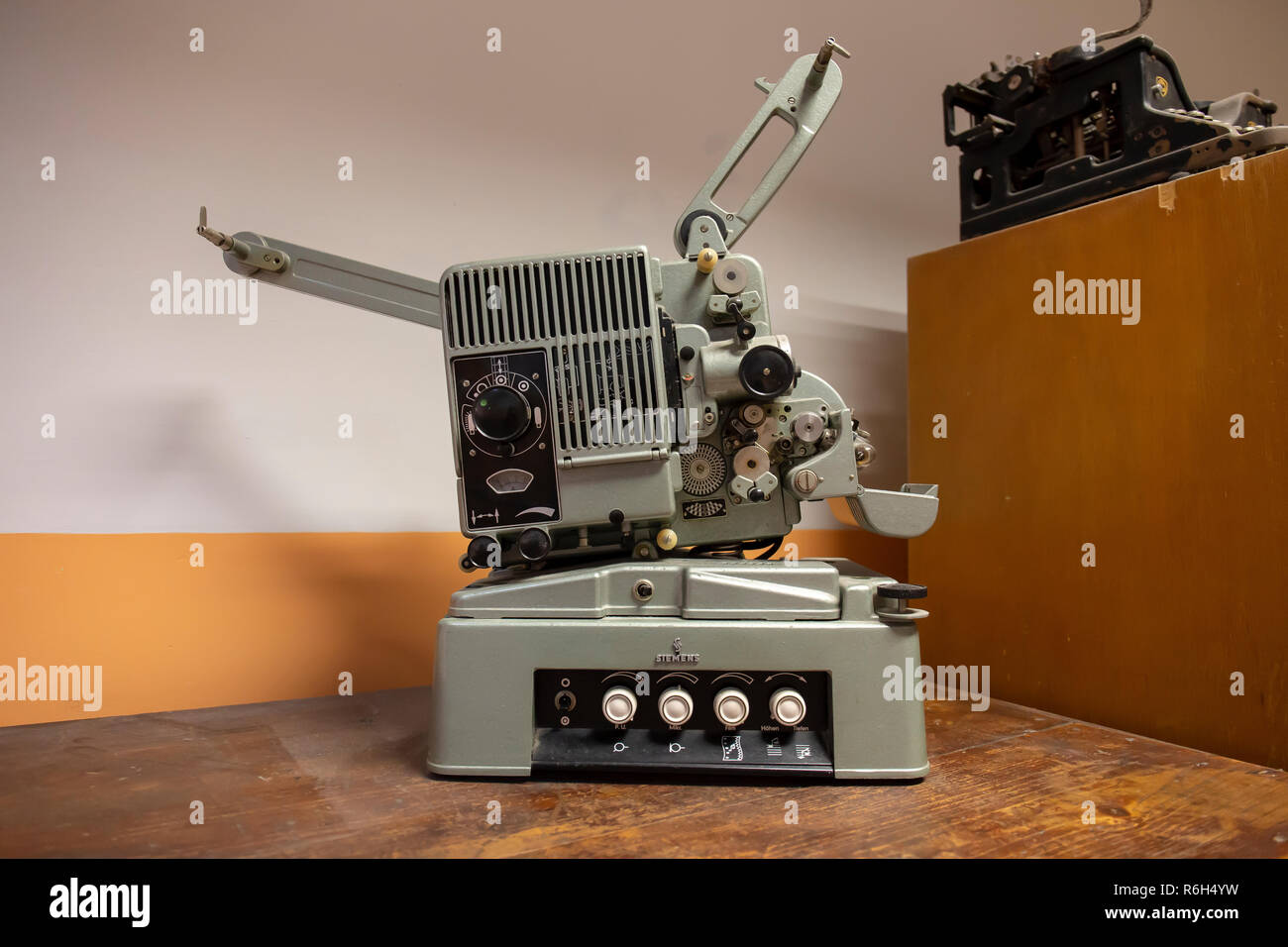 A vintage 8mm film projector without film reel Stock Photo