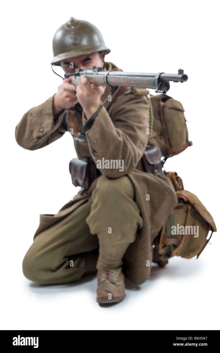 french soldier 1940 isolated on white background Stock Photo