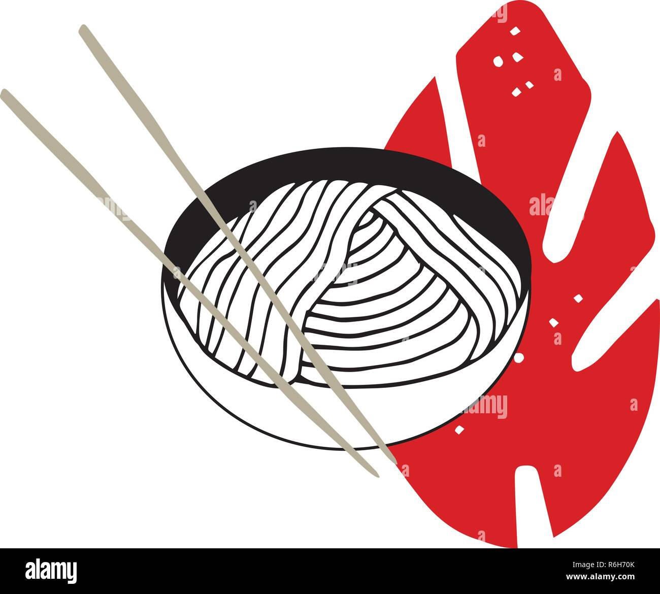 Hand drawn noodles bowl with chopsticks Asian cuisine Vector illustration - Stock Vector