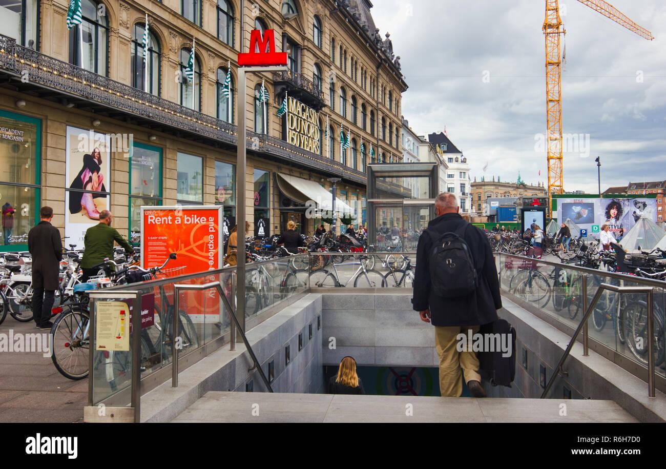 Kongens Nytorv Metro station and Magasin Du Nord department store, Kongens Nytorv, Copenhagen, Denmark, Scandinavia - Stock Image