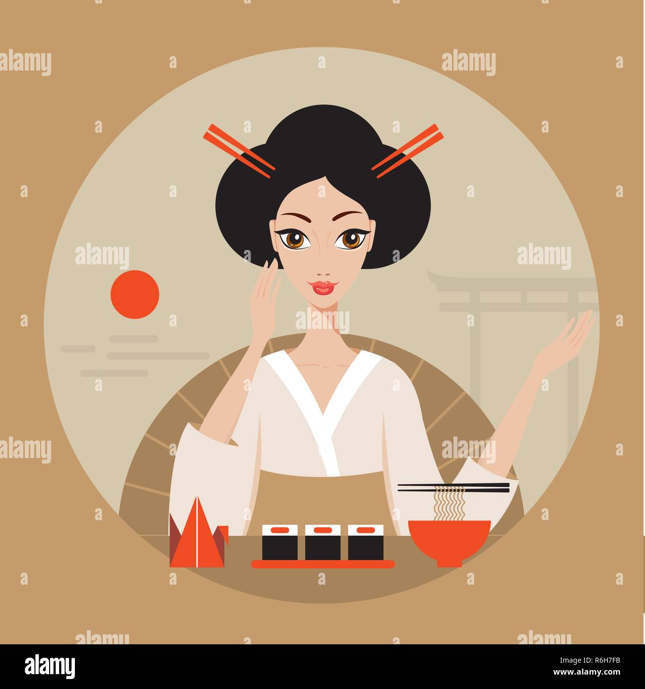 Beautiful Japan Travel banner with Geisha Sushi Origami and Noodles Vector illustration - Stock Vector