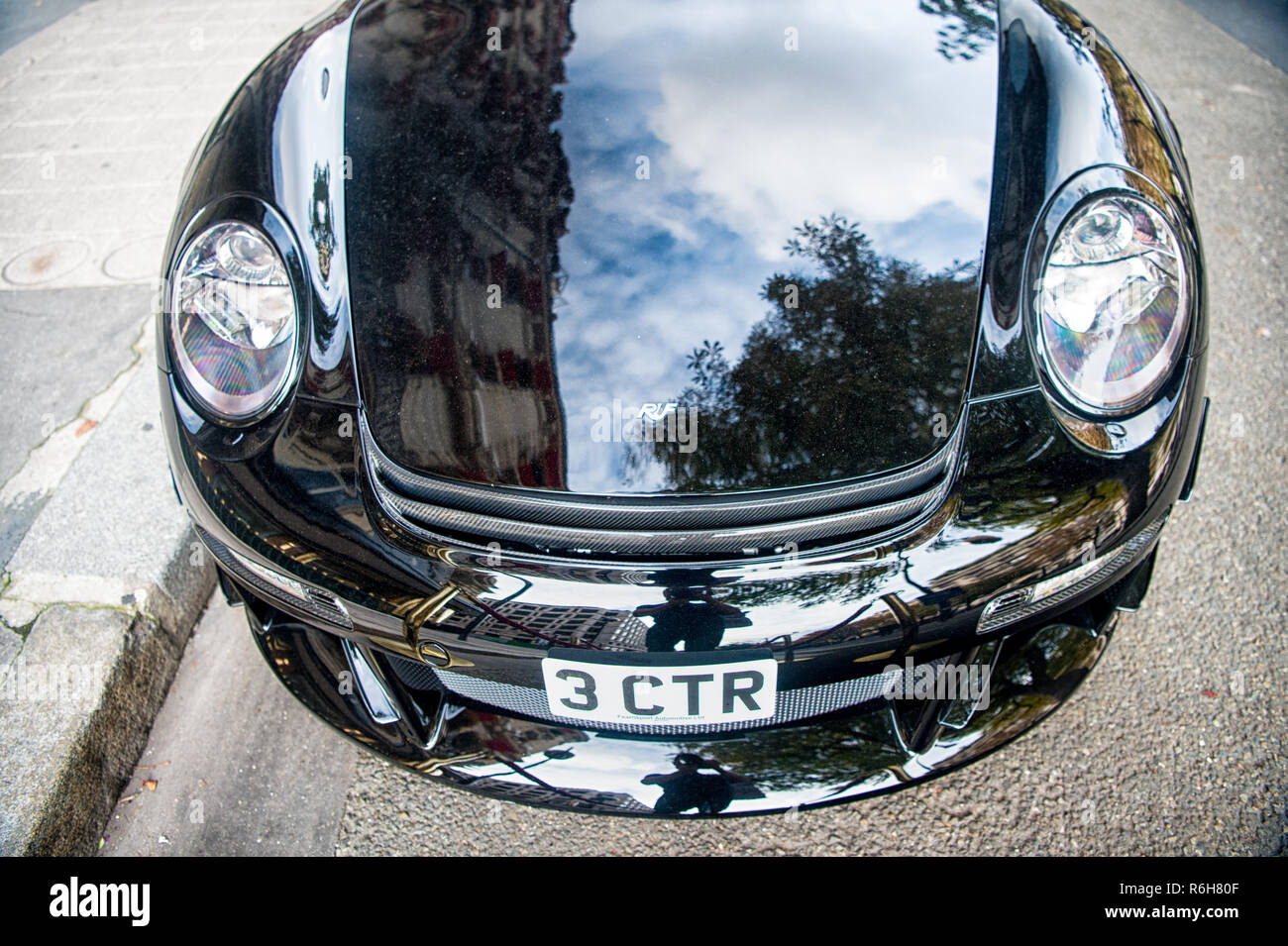 Paris, France - September 26, 23, 2017: luxury Supercar Porsche RUF CTR3 Clubsport black color parked on the street in Paris. Porshe is famous expensive automobile brand car - Stock Image