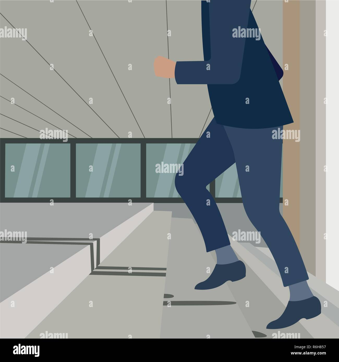 Young handsome business man. Walking up the stairs going to work time at morning in the city, determination, confidence, lifestyle, rush hour, grow up and successful concept - Stock Vector