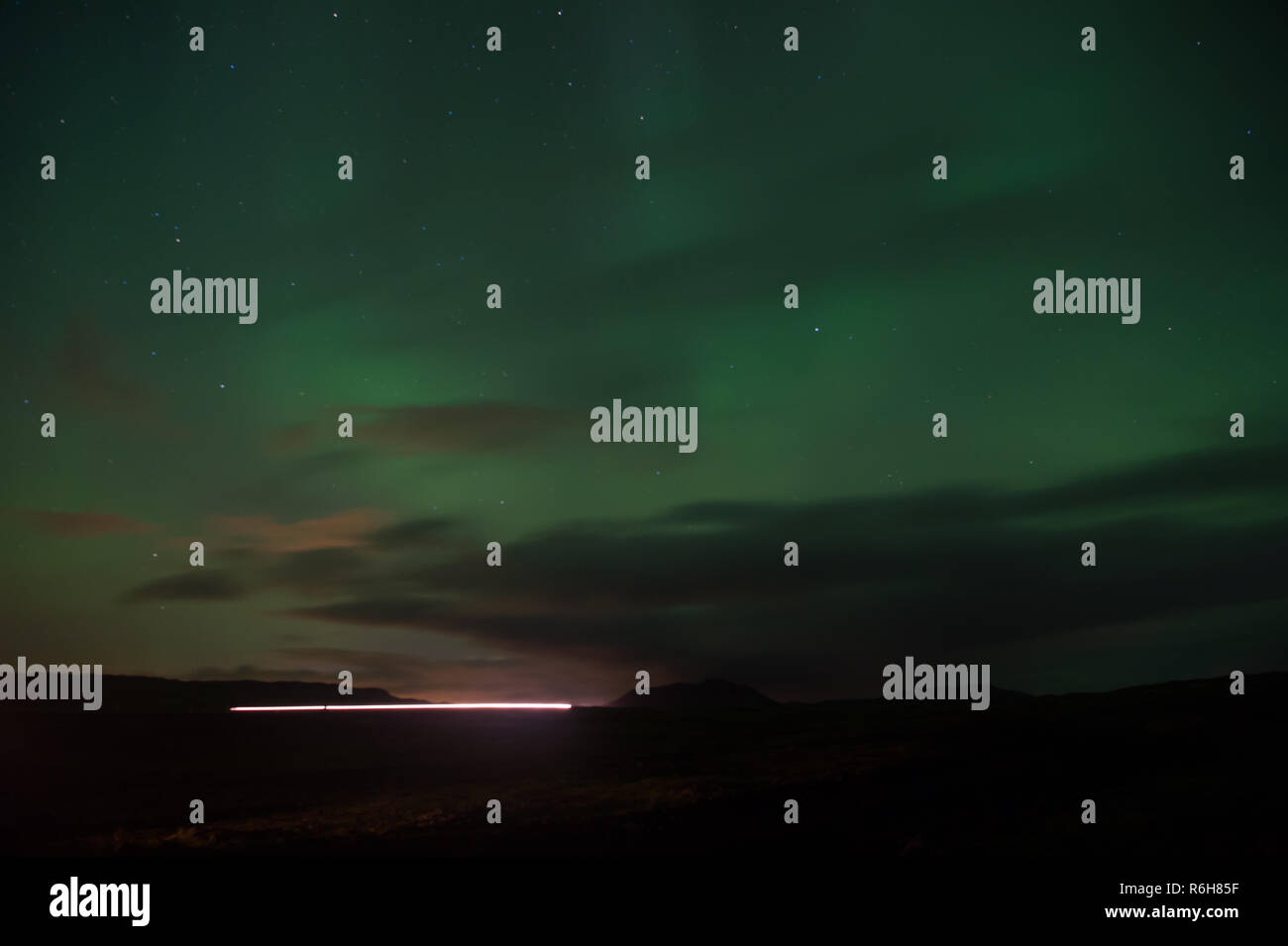 Northern light black sky with stars. Nature miracles. Aurora dark sky. Amazing nature phenomena. Best place see aurora borealis. When is best time to see northern lights. Place to see northern lights. - Stock Image
