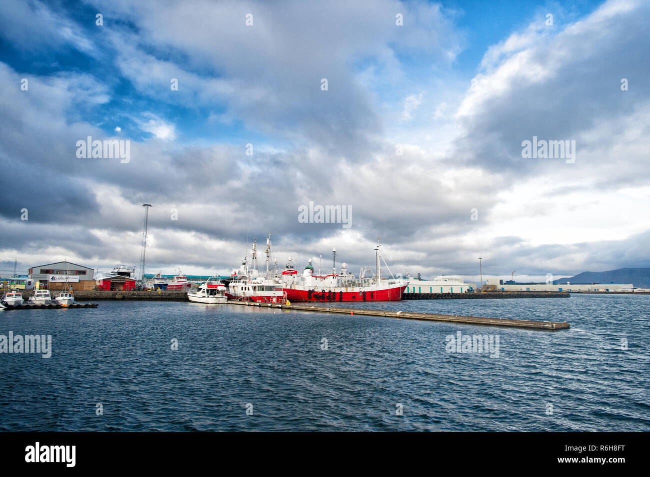 Reykjavik, Iceland - October 13, 2017: ship in sea port. Boat travel. Ship a sea. Ship acoustic navigation system. Boat ahoy. The world is yours, travel more. Stock Photo