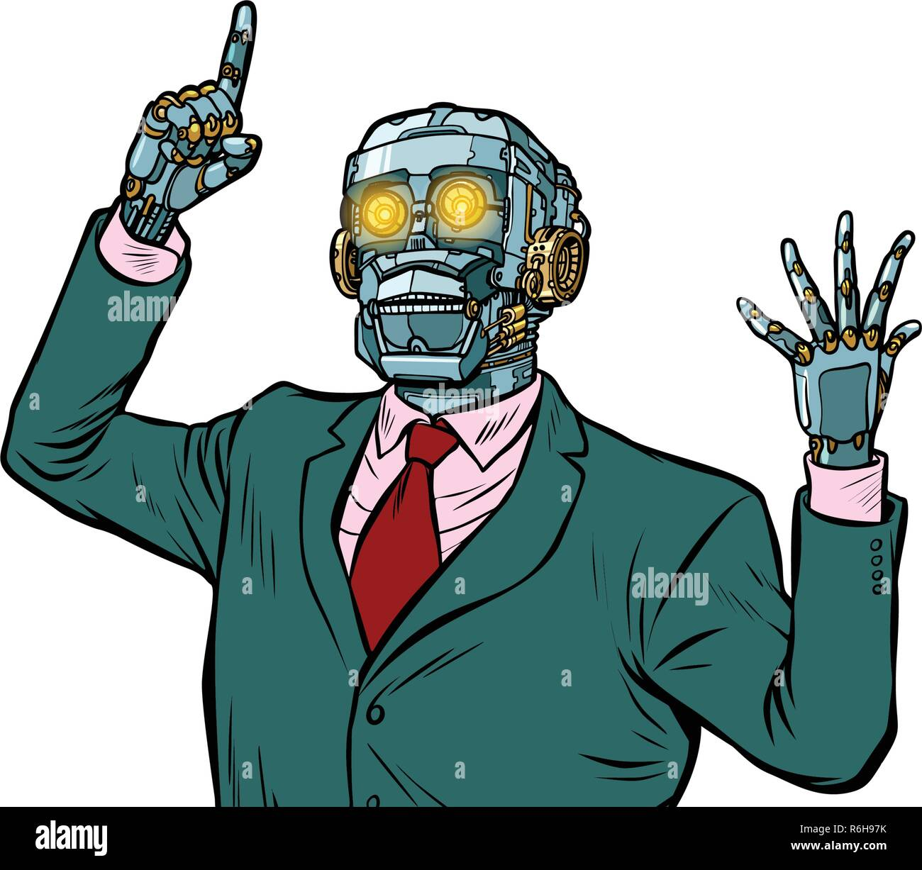 emotional speaker robot, dictatorship of gadgets. isolate on white background. Pop art retro vector illustration - Stock Vector