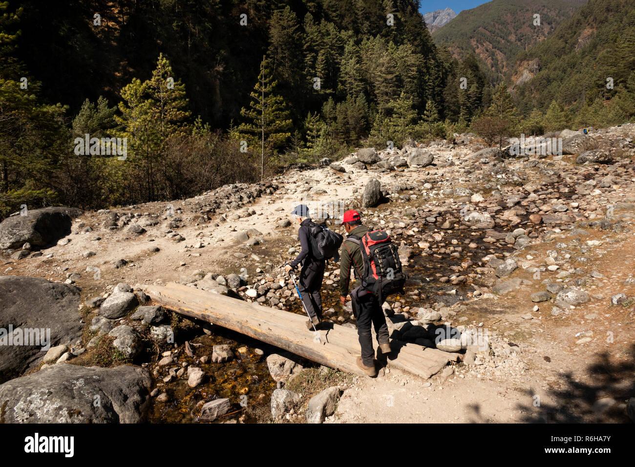 Nepal, Jorsale (Thumbug), senior trekker and Sherpa guide crossing small log bridge over stream beside Dudh Khosi river - Stock Image