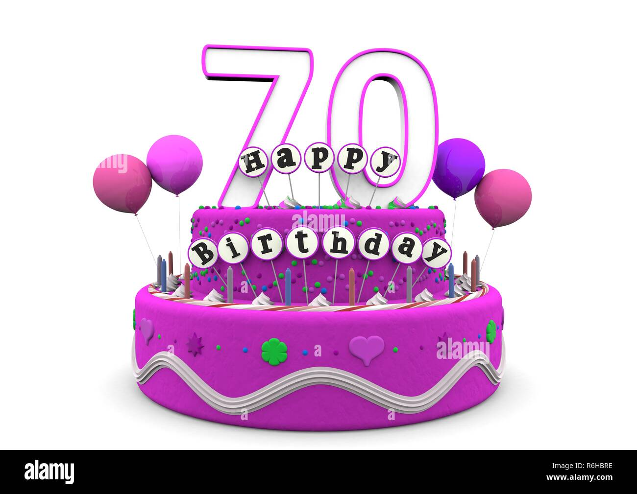 Birthday Cake Candles And 70 Year Old Stock Photos