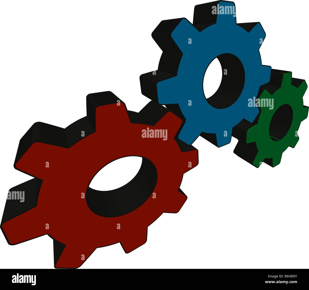 Three mating gears on white background - Vector illustration - Stock Vector