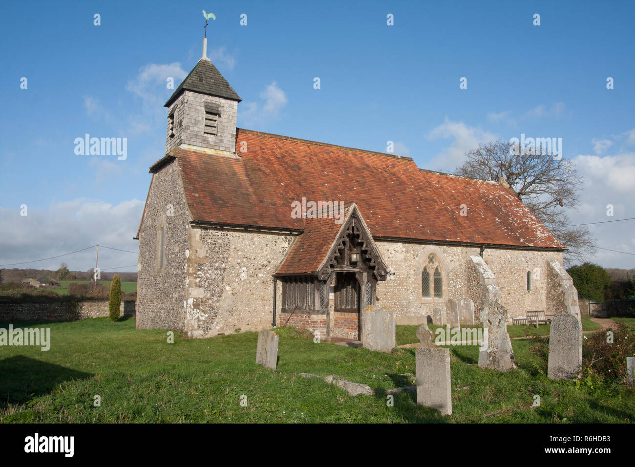 12th century St Mary's church, Binsted, West Sussex, England. Binsted is an ancient village steeped in folklore Stock Photo