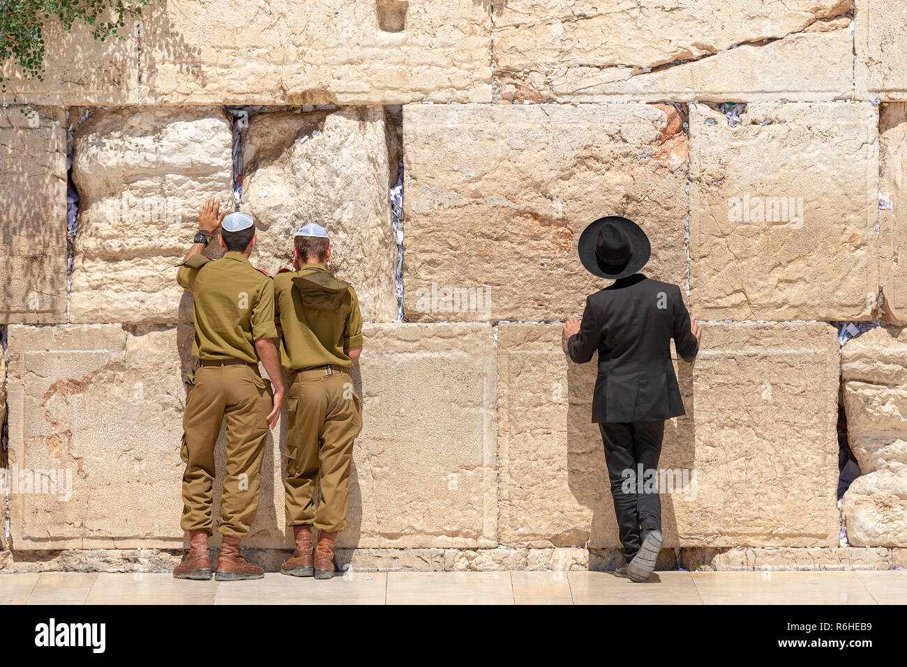 Jewish orthodox believers reading the Torah and praying facing the Western Wall, also known as Wailing Wall or Kotel in Old City in Jerusalem, Israel. - Stock Image