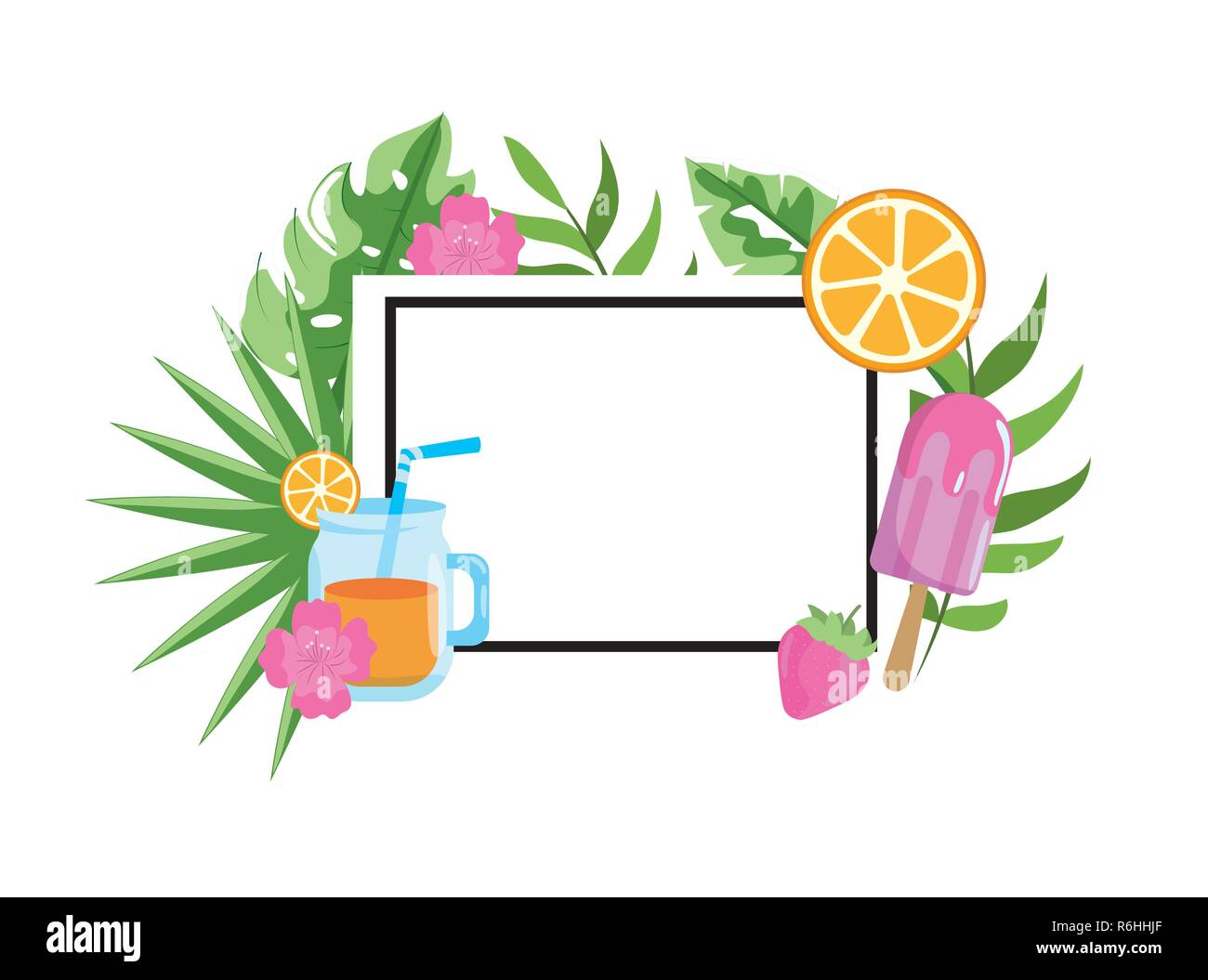 square emblem with tropical fruits and leaves Stock Vector
