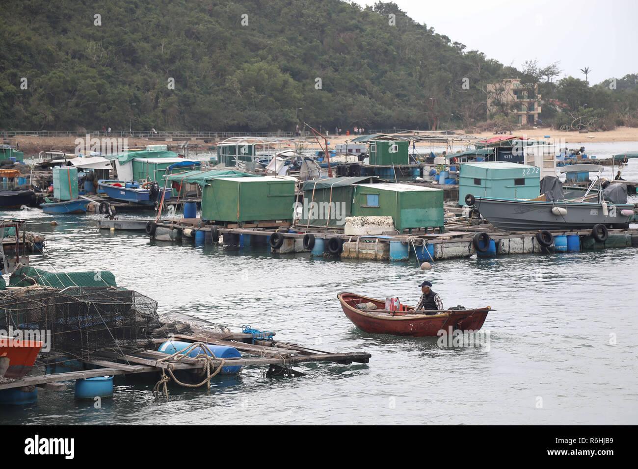 Sok Kwu Wan Fishing Village on Lamma Island - Stock Image