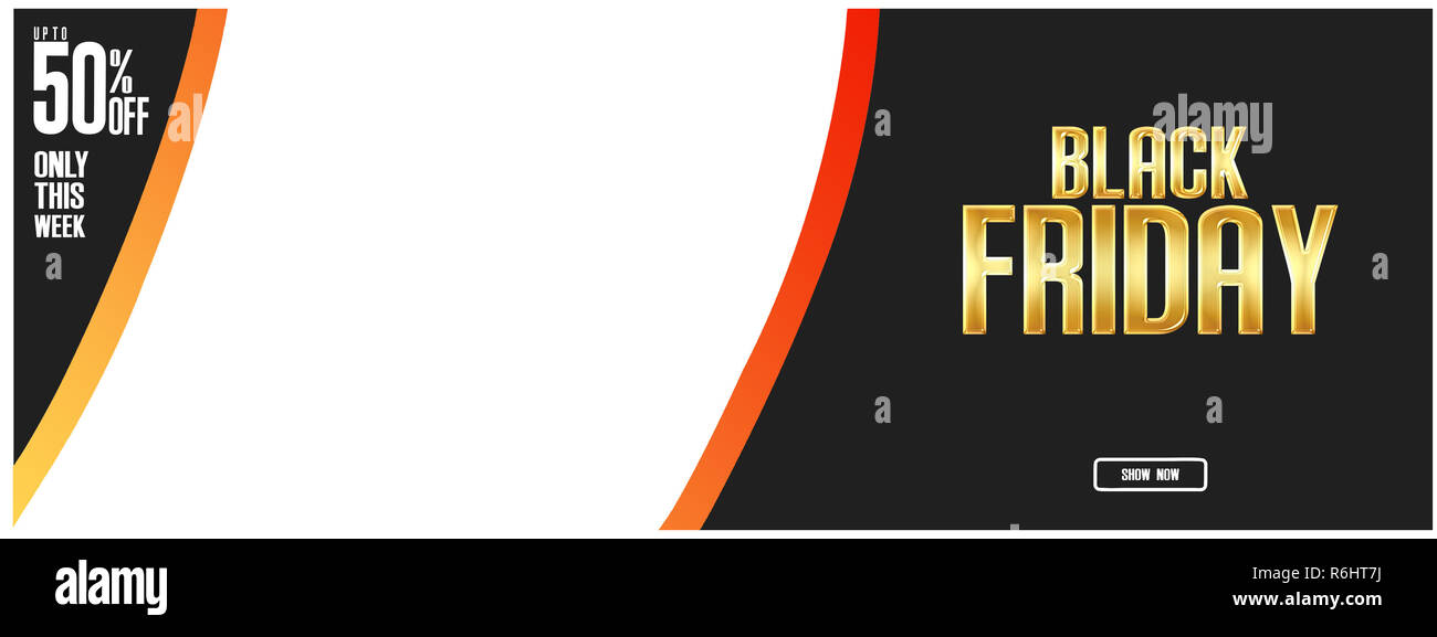 Black friday gold lettering and banner layout design, greeting card. - Stock Image