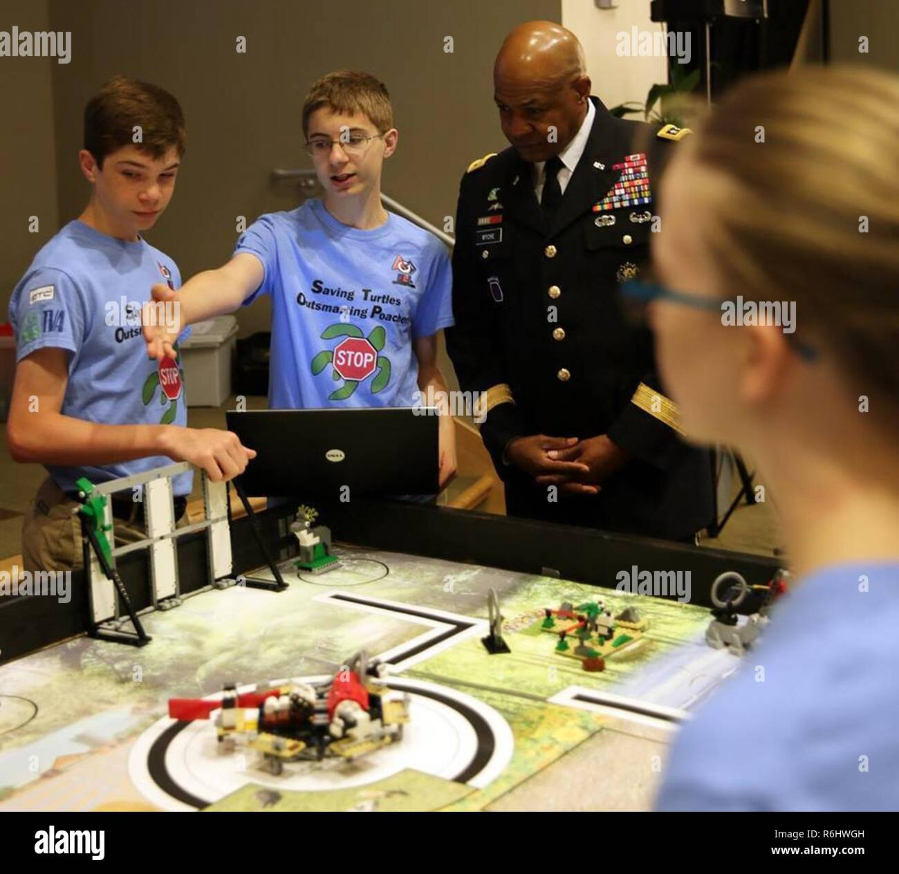 Middle school students from the Motorized Mayhem FIRST LEGO