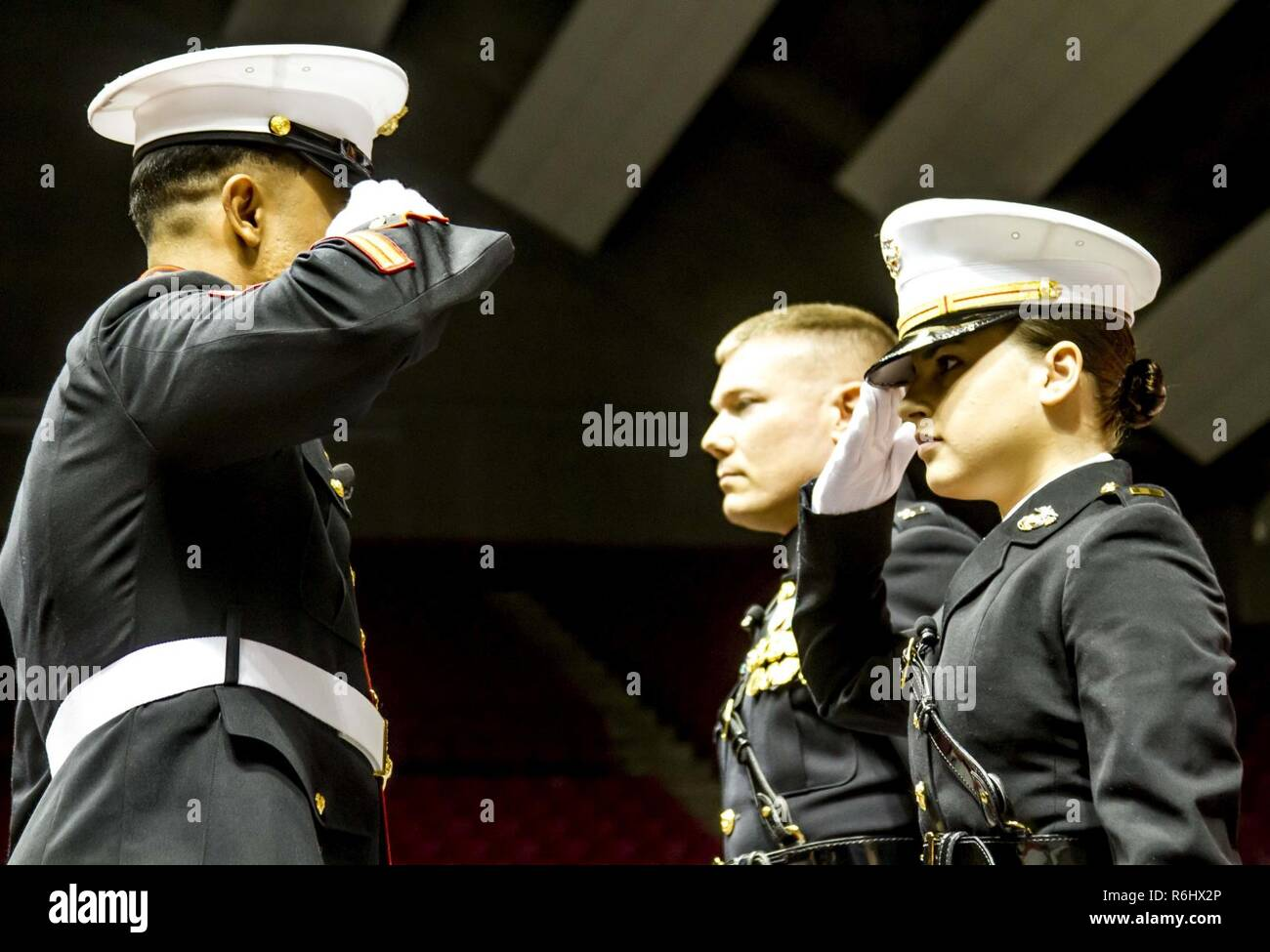 "Second Lieutenant Mary Sanders receives her first salute as a Marine Corps officer from Staff Sgt. Ibrahim Attya, a former member of the officer selection team for Recruiting Station Montgomery, during her commissioning ceremony at Coleman Coliseum, May 12, 2017. Sanders is a recent graduate of Alabama State University and attended Platoon Leaders Course and Officer Candidate School before being commissioned. ""After a couple of weeks I saw how the Marine Corps worked and was hooked. I was so inspired and motivated that if I had any doubts before, they were gone. This was something I wanted to  - Stock Image"