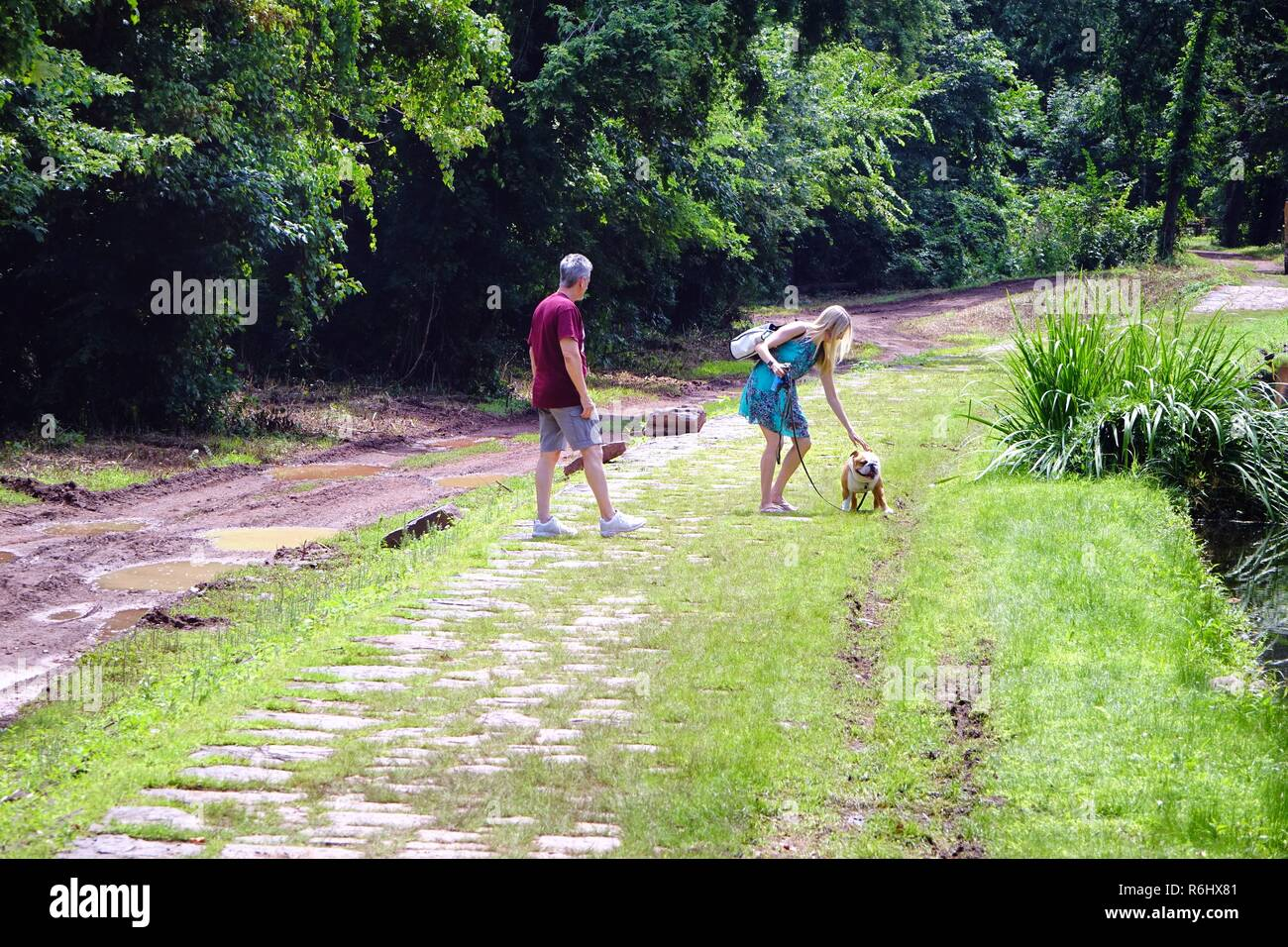 Hikers on the towpath of the Delaware and Raritan Canal: man, woman, dog - Stock Image