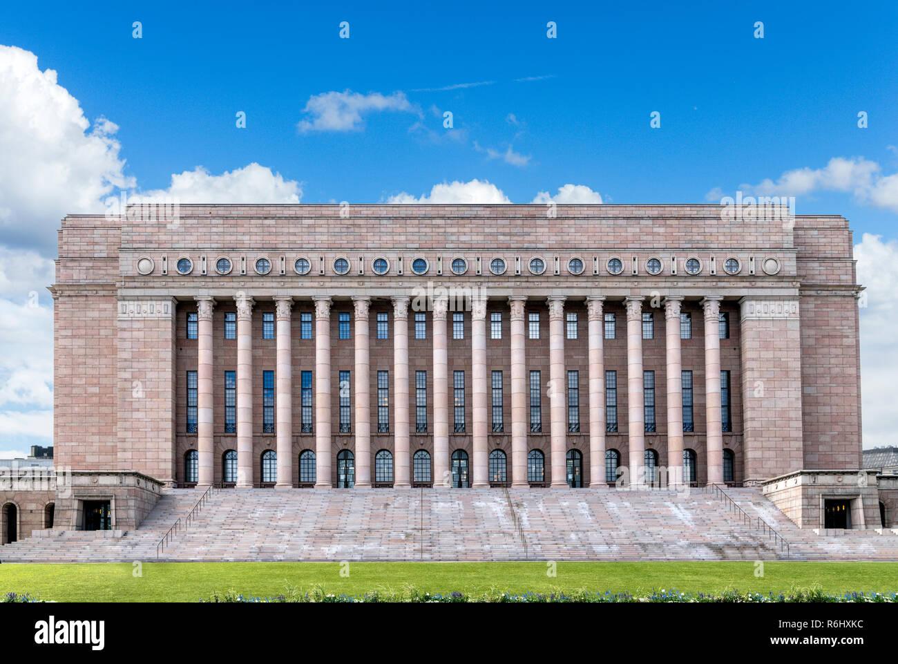 The Finnish Parliament House (Eduskuntatalo), Helsinki, Finland - Stock Image