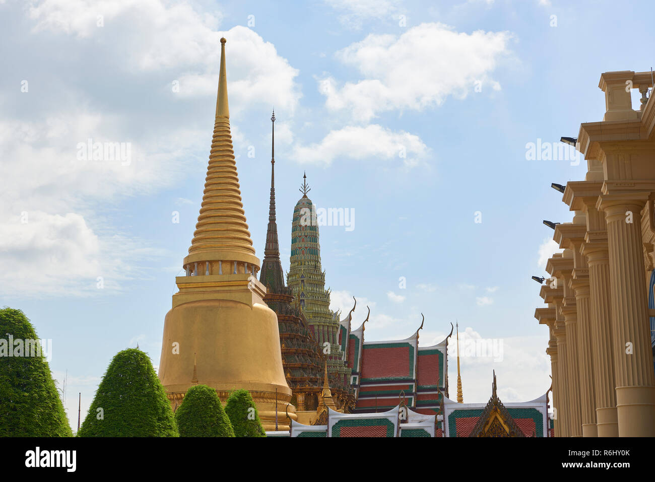 Three large pagodas inside the Grand Palace in Bangkok, Thailand. Stock Photo