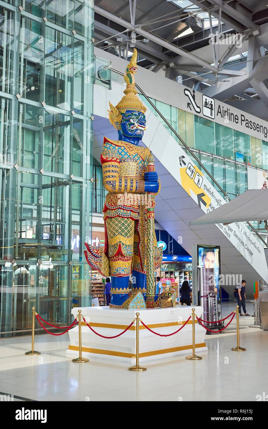 Large Yaksha statue in Suvarnabhumi Airport lobby in Bangkok, Thailand. Stock Photo