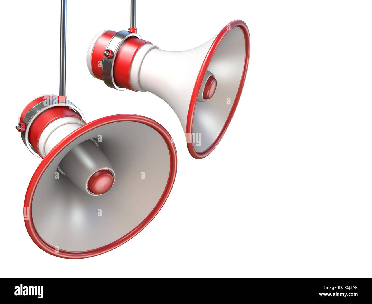 Two red and white megaphones 3D - Stock Image