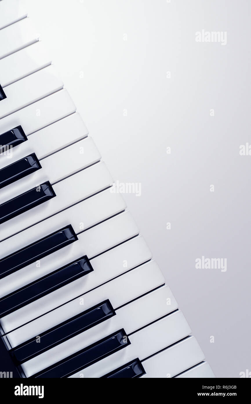 View on the synthesizer keyboard  isolated on a gradient gray background - Stock Image