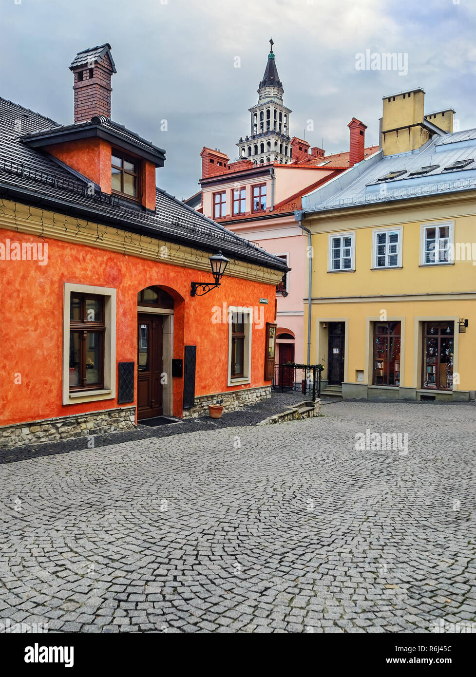 View of the historical part of Bielsko-Biala, Poland. - Stock Image