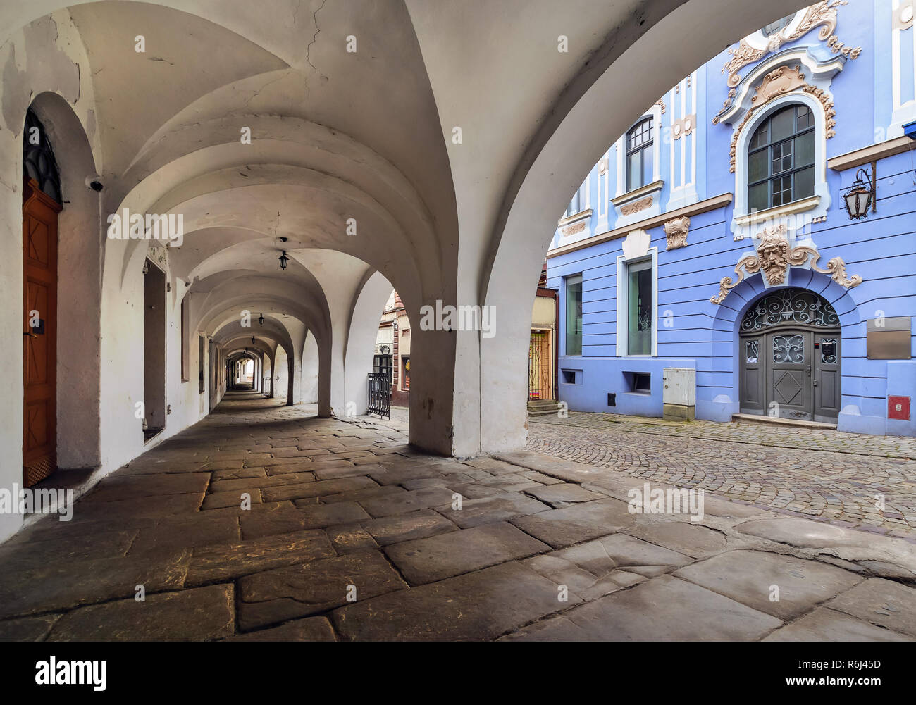 Architecture in the old town of Bielsko-Biala, Poland. - Stock Image