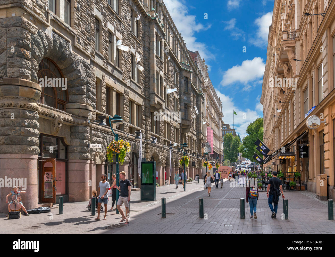Shops on Mikonkatu street in the city centre, Helsinki, Finland - Stock Image