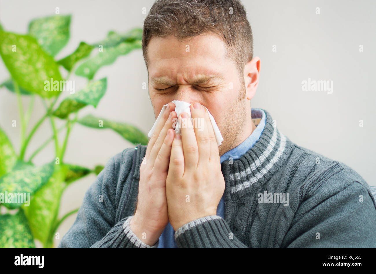 Handsome unshaved man blowing nose to napkin. Stock Photo