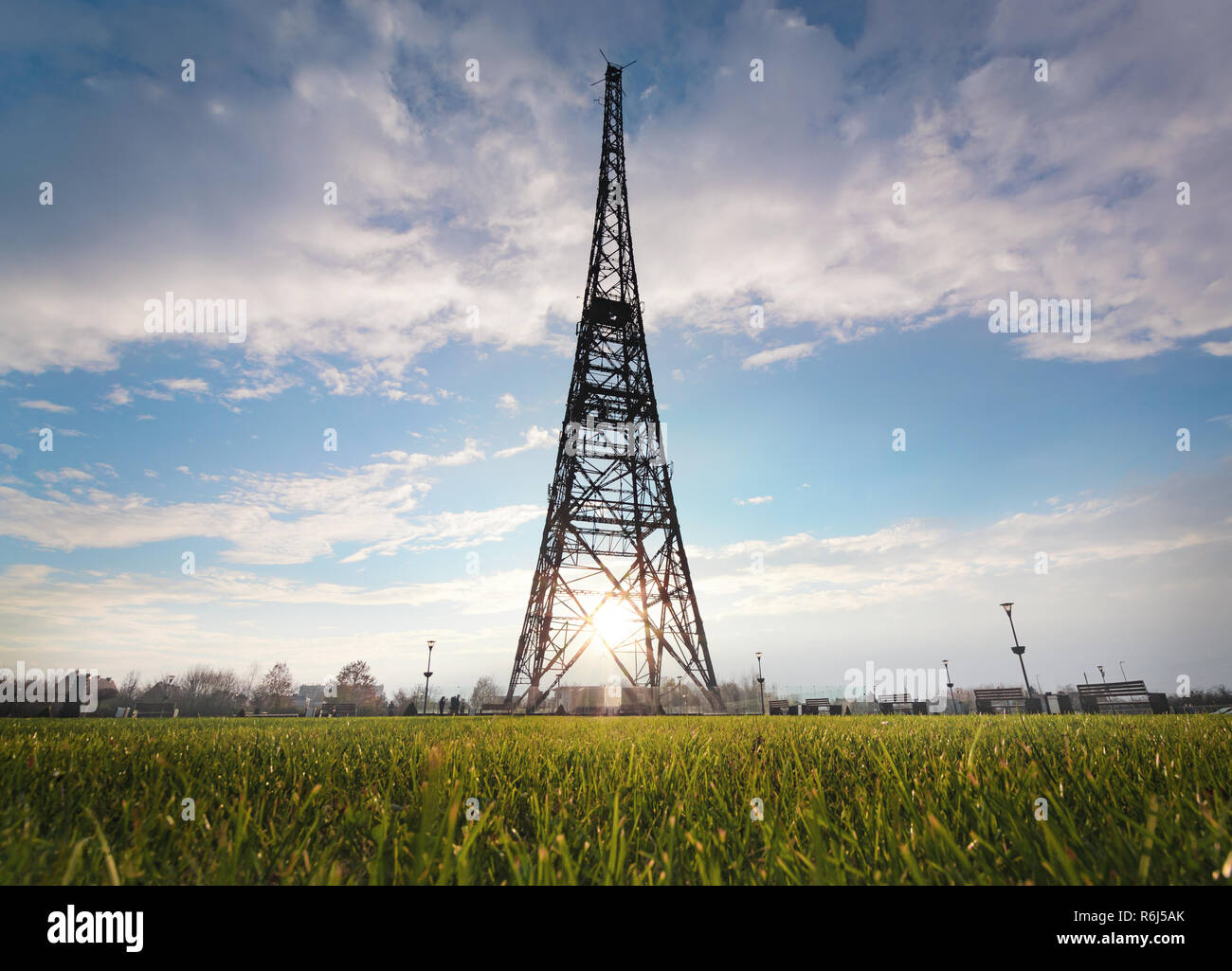 Historic radiostation tower in Gliwice in the contour light, Poland. Europe - Stock Image