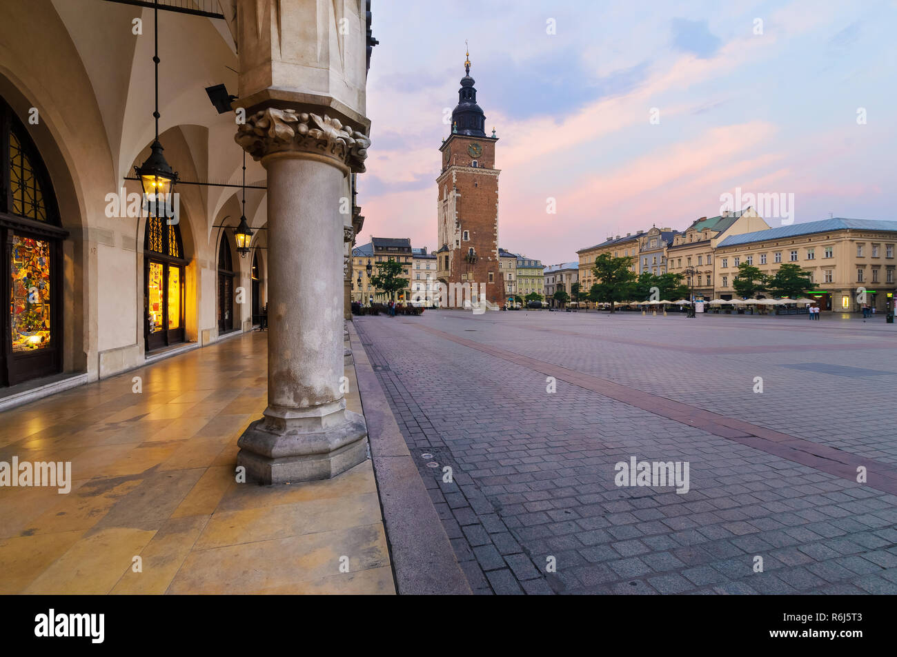Town hall tower in the main square of  Krakow. Poland. Stock Photo